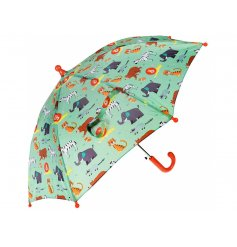 A Childrens Sized Umbrella decorated with a fun and colourful Animal Park theme print