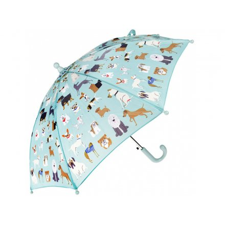 A Childrens Sized Umbrella decorated with a fun dog print!