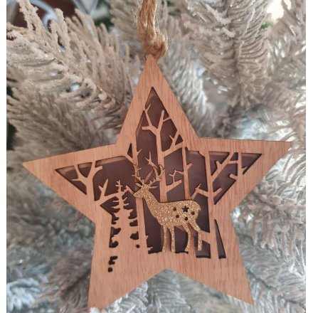 Hanging LED Woodland Scene Star, 24cm