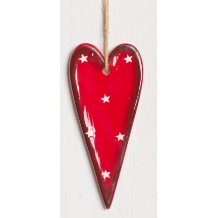 Red and White Hanging Heart, 13cm