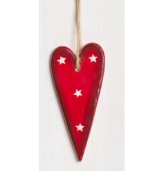 A small hanging ceramic heart with a traditional red and white tone, perfect for adding to any home this festive season