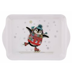 this silly skating penguin printed tray is a must have for the Christmas Season at home