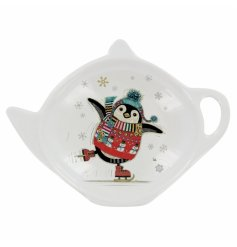 An adorably festive themed penguin printed teabag tidy the Bug Art Festive Range,