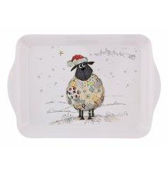 An adorably festive themed sheep printed serving tray the Bug Art Festive Range,