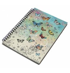An A6 sized hardback notebook with a spiral edge and a beautifully coloured butterfly print