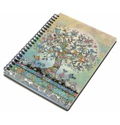 An A5 sized hardback notebook with a spiral edge and a beautifully coloured tree of life print