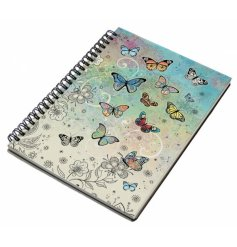 An A5 sized hardback notebook with a spiral edge and a beautifully coloured butterfly print