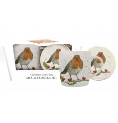 From the Bree Merryn Range, a festive robin themed Christmas Collection Mug and Coaster Set