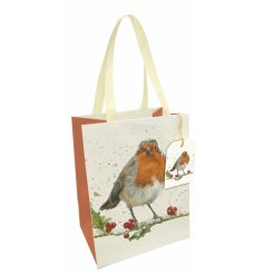 A beautifully illustrated winter robin motif printed onto a large sized gift bag complete with ribbon handles
