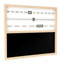 A large wooden framed chalkboard with an added magnetic calendar tracker on the top