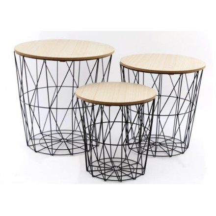 Geo Wire Side Table Set, 39cm