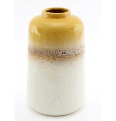 A large porcelain based decorative vase featuring a ombre toned colouring and speckled glaze finish
