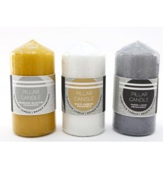 An assortment of basic Pillar Candles in a large size, each set with its own block colour and scent