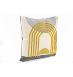 a plump cushion set with assorted texture feels and a stylish abstract colour design