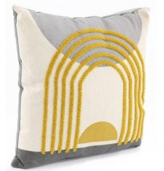 A charmingly stylish plump cushion featuring a bold yellow and grey abstract design