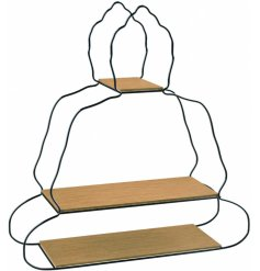 A decorative wall unit featuring a 3 tier shelving space and zen inspired Buddha shape