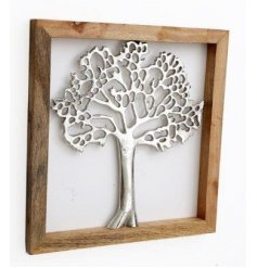 A charmingly simple natural wooden frame set with a Silver Tree of Life decal in the centre