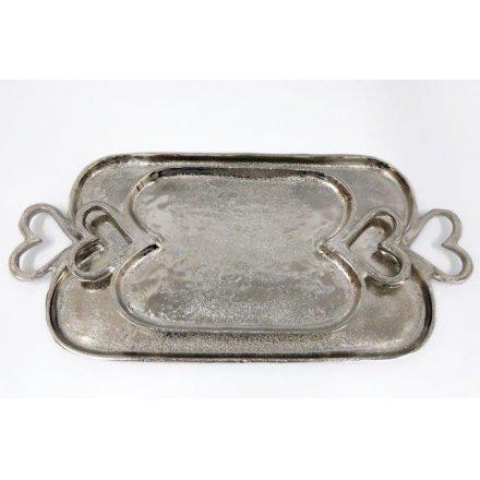 Aluminium Heart Handle Tray Set, 50cm