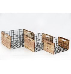 An assorted sized set of Wooden Crates, each set with a rustic charm and added black wire edges