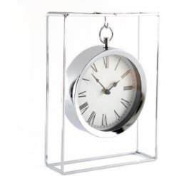 A gorgeously simple silver metal table clock set with a hanging feature and luxe silver finish
