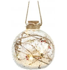 A gorgeously decorated rough edge glass bauble set with a cork top and rope hanger