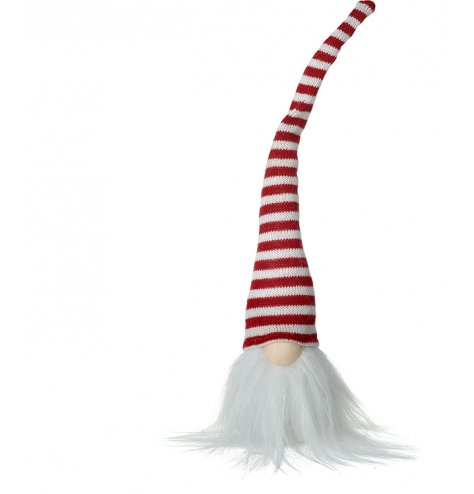 A fuzzy bearded gonk head with a long pointed hat in a red and white striped pattern
