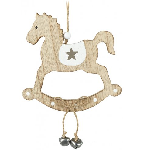 A charming little hanging rocking horse decoration with a grey star and jingling bells
