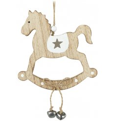 A charmingly simple hanging wooden rocking horse decoration, complete with jingling bells and a rustic setting