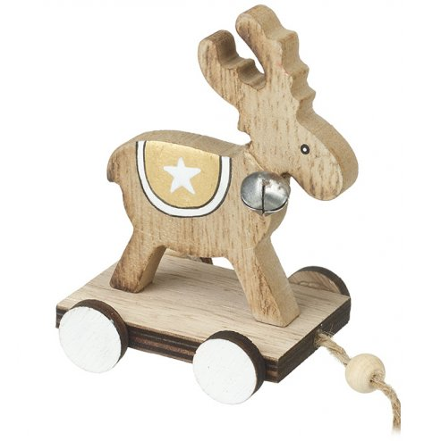 A charming little pull along reindeer decoration with a jingle bell and natural wood finish