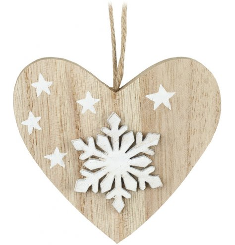 A chic and contemporary wooden heart hanger with a 3D white snowflake and printed stars