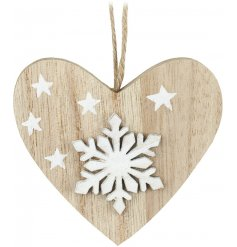 A charming little hanging wooden heart, decorated with a 3D snowflake and printed stars