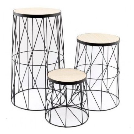 Set of Geometric Wire Tables, 53cm
