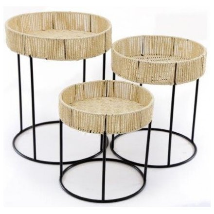 Set of 3 Woven Side Tables, 51cm