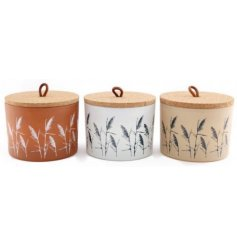 An assortment of natural toned candle pots, each set with a pampas grass decal and simple cork topped lid