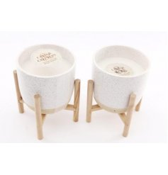 these speckle glazed candle pots feature a charming and simple colour based tone