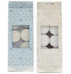 Part of the beautiful blue and white hued Mediterranean Range, this assortment of sweetly scented tlights also comes in