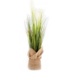 A little pot bursting with artificial pampas grass