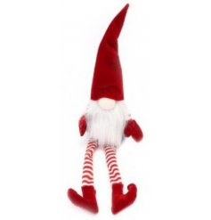 A fun and festive themed plush Santa decoration, complete with long dangly legs and a high pointed hat