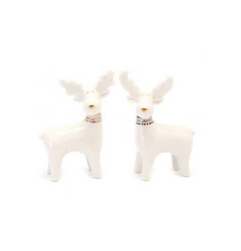 A simple yet charming assortment of ceramic reindeer with sleek patterned collars