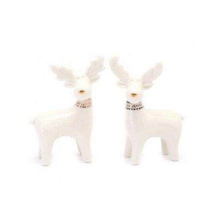 Ceramic White Reindeer, 9.5cm