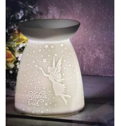 A white ceramic based tlight holder complete with an embossed Fairy decal, Scripted text finish and an added dipped dish
