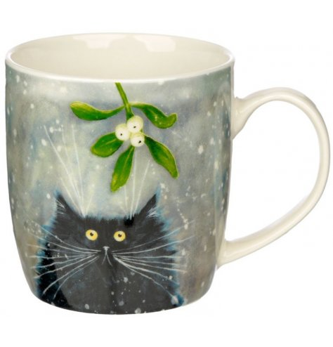 A quirky themed mug and coaster set featuring wide eyed black cat under the mistletoe