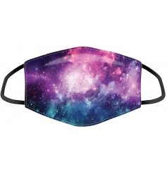 Keep yourself and others safe while still remaining stylish with this galaxy inspired printed face covering.