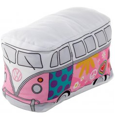A retro Volkswagen Camper Van Doorstop with a colourful groovy decal