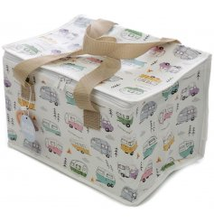 A zip up fabric lunch bag set with a quirky caravan print