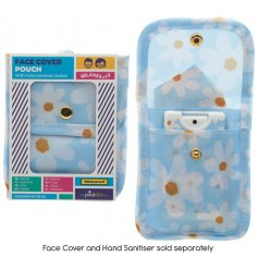 Perfect for keeping your facemask and hand sanitiser safe and clear when not in use, a pretty blue toned pouch with bu