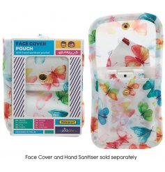 A handy folding fabric pouch that is suitable for holding a face covering and small bottle of sanitiser