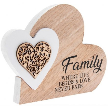 Sentiments Double Heart Side Block - Family