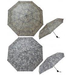 An assortment of Animal Print inspired folding umbrellas
