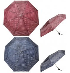 An assortment of red and blue coloured polkadot printed umbrellas,